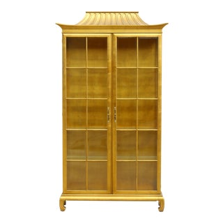 Vintage Gold Leaf Pagoda Curio Cabinet For Sale