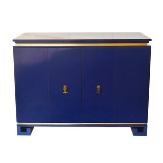 Vintage Chinoiserie Blue Lacquer & Brass Chest
