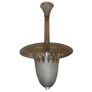 Smoke Tinted Acid Etched Chandelier Signed Daum Nancy, 1935 For Sale