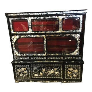 Asian Mother of Pearl and Abalone Cabinet Black Laquer