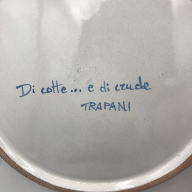 Italian Trapani Windmills of Sicily Motif Hand Painted Terra Cotta Antipasta Wall Platter For Sale - Image 3 of 6