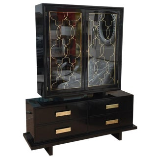 Hollywood Regency Grosfeld House Black Lacquer, Brass and Glass Cabinet For Sale