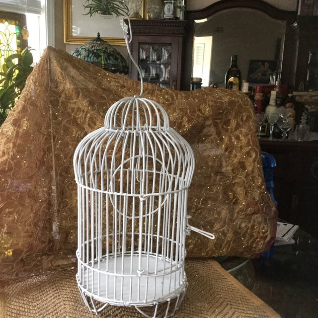 Mid-Century White Bird Cage For Sale - Image 4 of 8