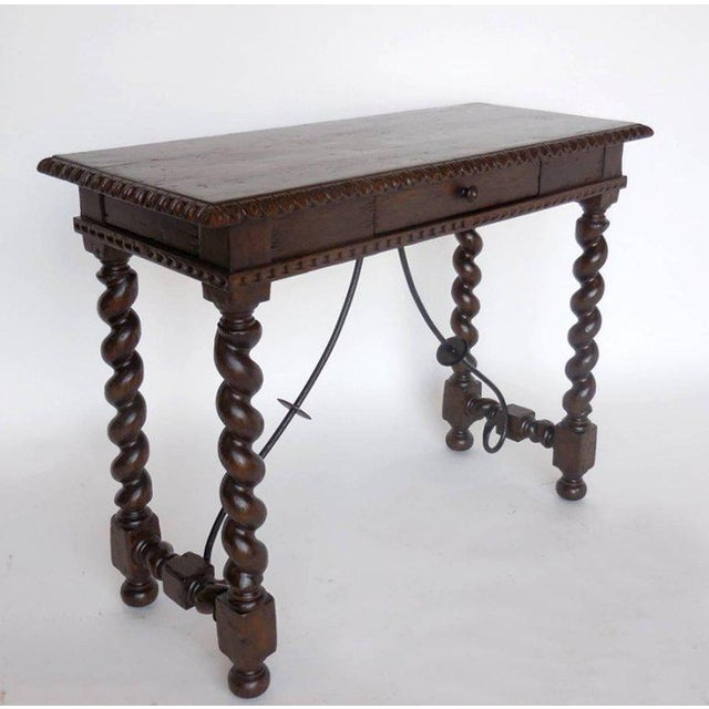 Walnut Custom Hand-Carved Walnut Writing Desk with Pencil Drawer For Sale - Image 7 of 7