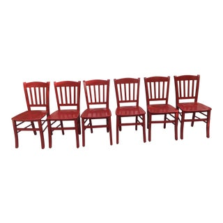 Contemporary Palmer Red Lacquer Dining Chairs - Set of 6 For Sale