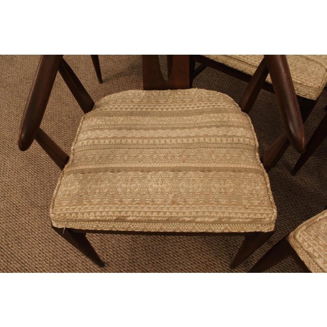 Curved-Back Walnut Dining Chairs - Set of 6 - Image 9 of 11