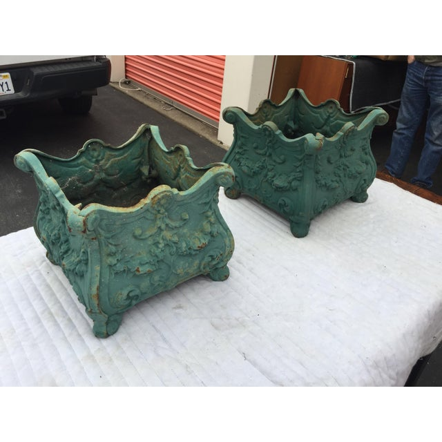 French Cast Iron Planters a Pair For Sale - Image 4 of 10