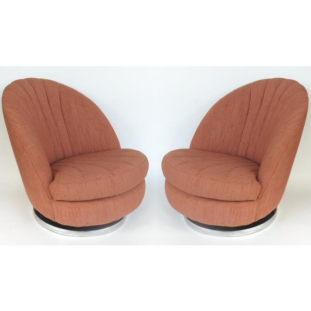 Milo Baughman Swivel and Tilt Lounge Chairs With Chrome Base, Usa, 1970s For Sale - Image 12 of 12