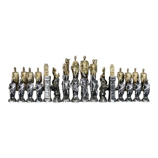 Pewter & Brass Chess Pieces Set