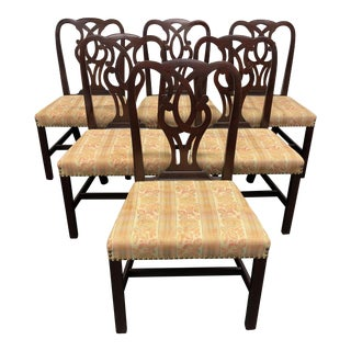 Baker Solid Mahogany Georgian Style Dining Side Chairs #789 - Set of 6 For Sale