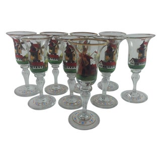 Dutch Enameled Cordial Goblets Windmills Set of 9 For Sale