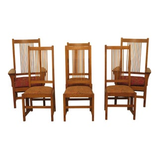 1990s Vintage Stickley Mission Oak Arts & Crafts Dining Room Chairs- Set of 6 For Sale