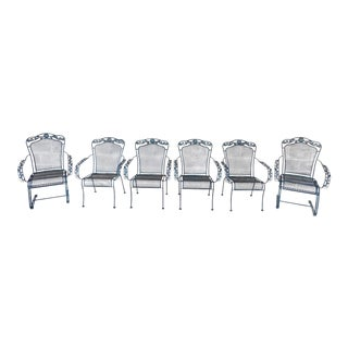 Early 21st Century Vintage Russell Woodard Style Wrought Iron Arm Chairs- Set of 6 For Sale