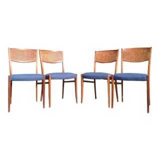 Mid Century Modern Set of Four Dining Chairs Newly Upholstered For Sale