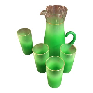 Vintage Green Pitcher and Glasses - Set of 6
