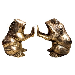 Vintage Cast Brass Frog Bookends - a Pair For Sale