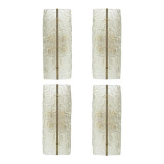 Set of Four Italian Glass and Bronze Wall Lights, Barovier and Toso For Sale
