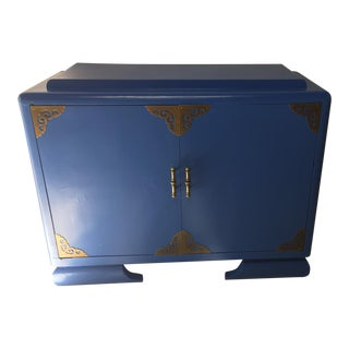 Asian Athens Blue & Brass Cabinet For Sale