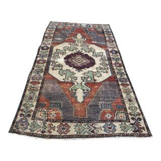 Handmade Anatolian Faded Wool Rug For Sale