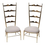 Image of Rare Tall Back Brass Chiavari Chairs With Truncated Legs For Sale