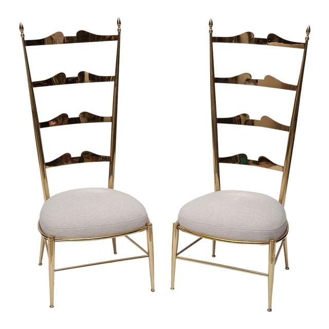 Rare Tall Back Brass Chiavari Chairs With Truncated Legs For Sale