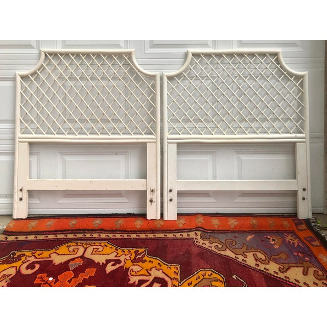 1960s Vintage White Bamboo Rattan Latticed Pagoda Twin Headboards - a Pair For Sale - Image 5 of 7