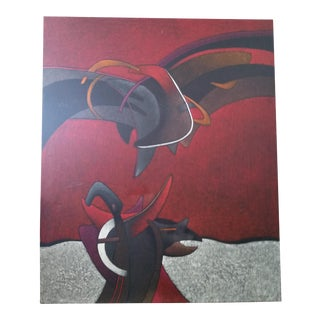 'Milton Estrella Gavidia-Famous Rojo Y Negro' Massive Cut Impasto Modern Painting For Sale