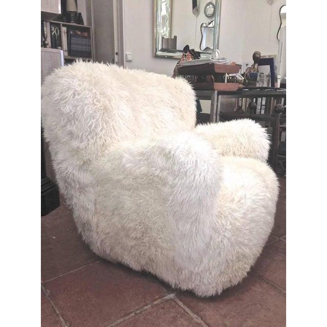 Viggo Boesen Pair of Hairy Club Chairs Covered in Sheep Skin Fur.