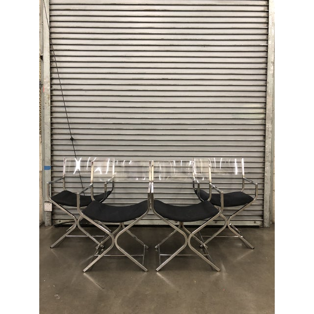 Acrylic 1970s Mid-Century Modern Milo Baughman Directors Chairs - Set of 4 For Sale - Image 7 of 7