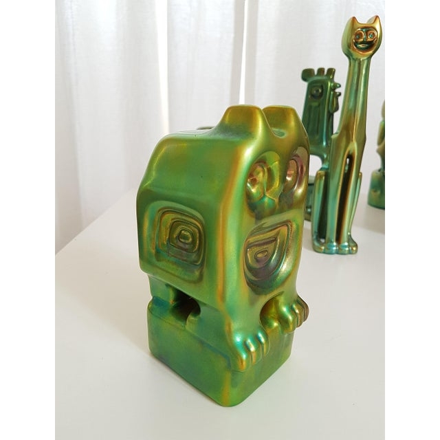 Ceramic Set of Six Ceramic Eosin Figures by Zsolnay, With 1960s Stamps For Sale - Image 7 of 12
