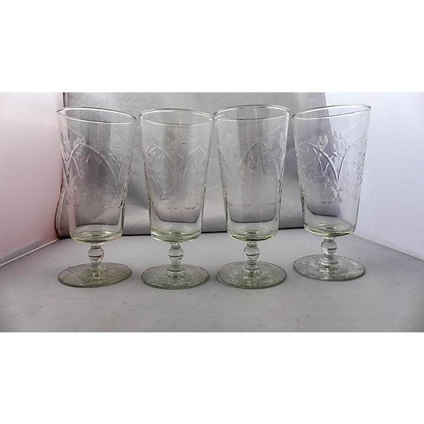 Vintage Etched Floral Pattern Glasses - Set of 4 - Image 2 of 5