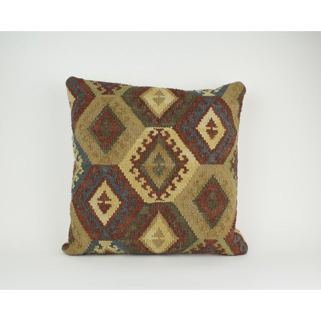 Adirondack Brown and Blue Woven Kilim Pillow For Sale - Image 3 of 8