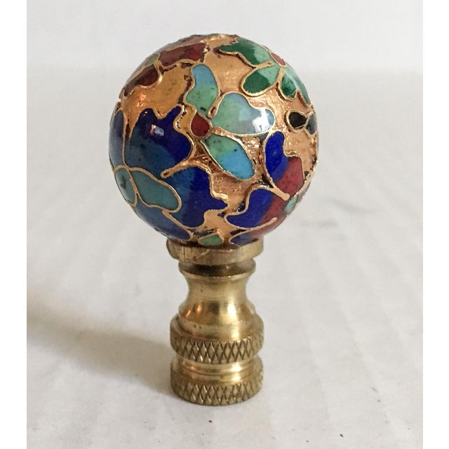 Beautiful Chinese cloisonne lamp finial with enameled flowers on a gold body.