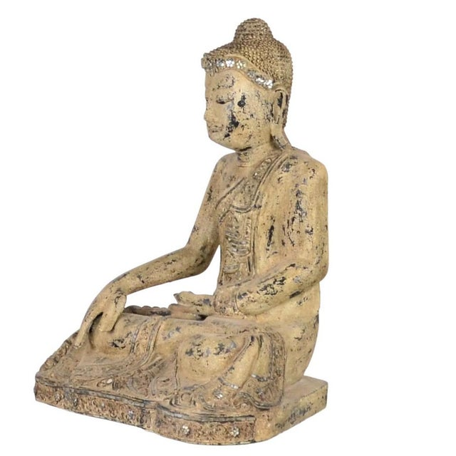 Asian Antique Vintage Thai Wooden Buddha In Wood For Sale - Image 3 of 5