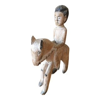 Early 20th Century Wooden Carved Statue Ewe Equestrian King Togo For Sale