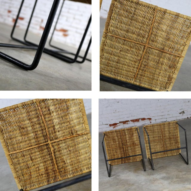 Caif-Asia Style Wrought Iron and Rattan Side Tables - A Pair For Sale - Image 12 of 13
