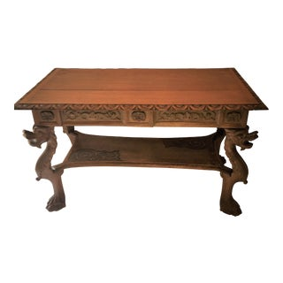 "Mahogany Library Table From San Francisco Carver: Joseph Thomas Byrne 49"" X 27 1/4"" X 28 1/2"" Tall For Sale"