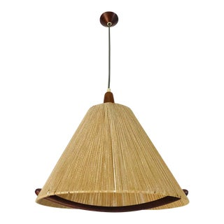 Midcentury Teak and Rattan Hanging Lamp, circa 1970 For Sale