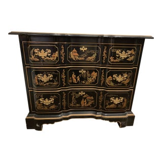 Vintage Drexel Hand Painted Black Chinoiserie Three Drawer Dresser For Sale