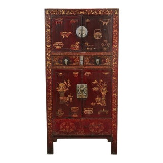19th C. Black and Red Chinese Chinoiserie Lacquered Cabinet