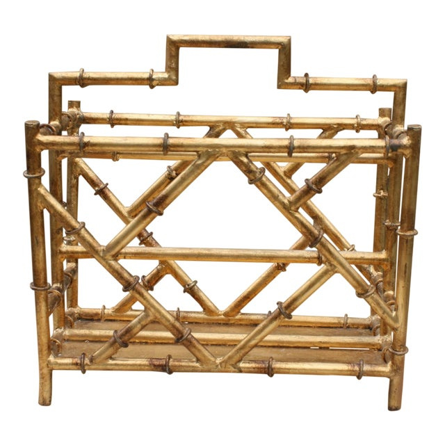 Gilt Faux Bamboo Chinoiserie Style Magazine Rack For Sale