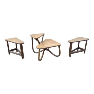 Vintage Bamboo Side & Coffee Table Set - Set of 3