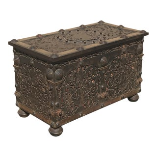 1820 Reticulated Brass Strong Box For Sale