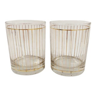 Culver Striped Lowball Glasses - a Pair For Sale