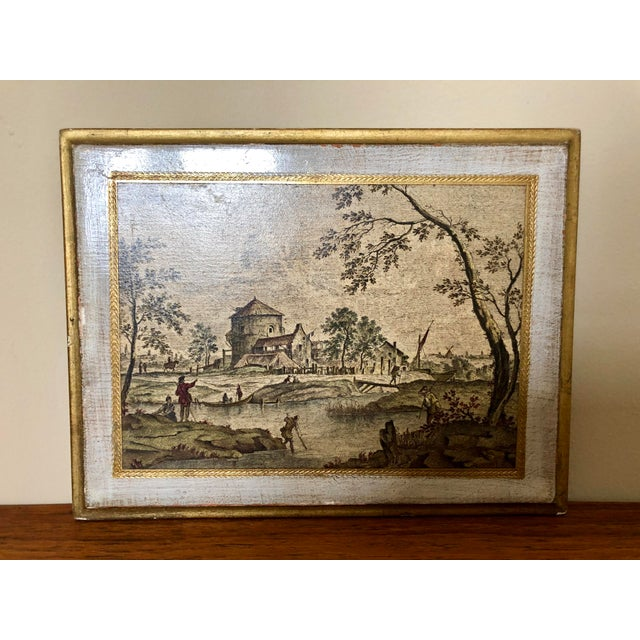 Vintage Florentine scenic wall plaques.