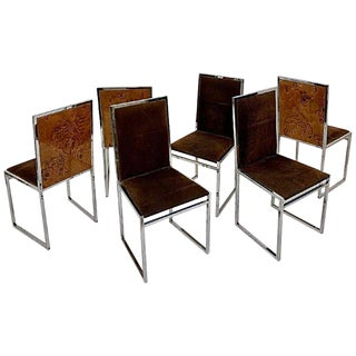 Set of 6 Chairs in Style of Willy Rizzo For Sale