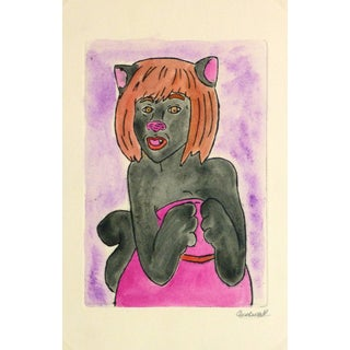 Ana May, Etching - Cat Woman For Sale