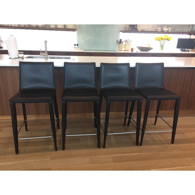 Black Leather Bottega Counter Stools - Set of 4 - Image 2 of 11