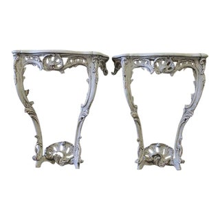 Painted and Carved Louis XV Style Wall Consoles - a Pair
