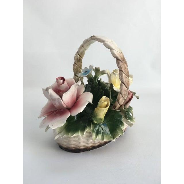 Baroque Vintage Italian Crown Capodimonte Porcelain Floral Arrangement For Sale - Image 3 of 11